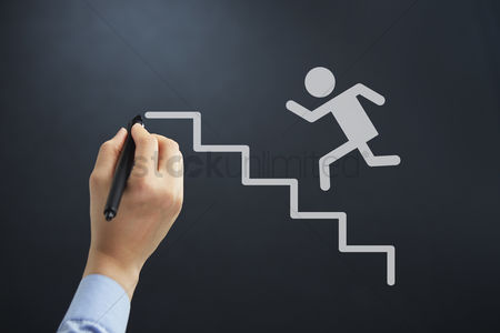 Steps : Hand illustrating man running up steps