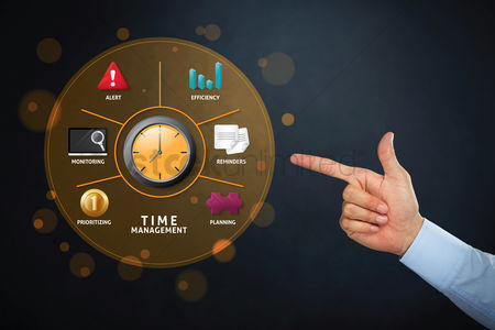 Alert : Hand pointing at time management concept