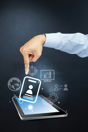 Earth  graphic vector : Hand pointing towards employee identification card on tablet pc concept