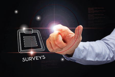 Points : Hand pointing with surveys concept
