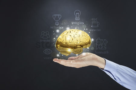Leadership : Hand present brain innovation concept