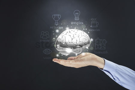 Vision : Hand present brain innovation concept