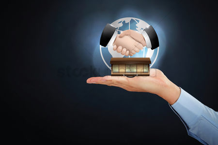 Earth  graphic vector : Hand presenting a business deal concept