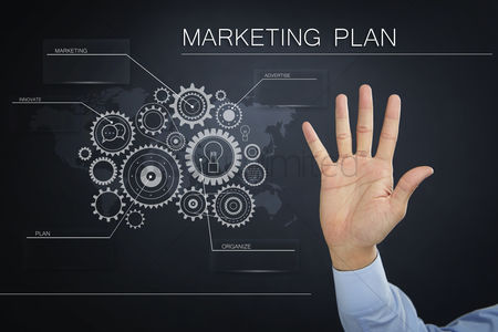Internet : Hand presenting a business marketing plan concept