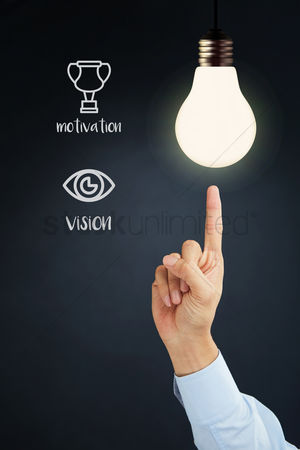 Motivation business : Hand presenting business motivation and vision concept