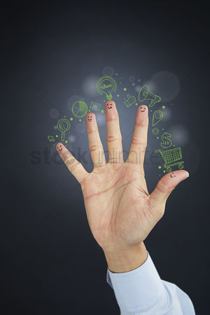 Handdrawn : Hand presenting business strategy diagram concept