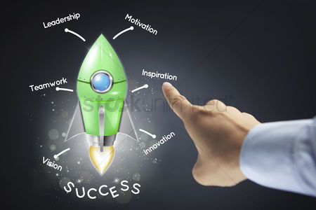 Steps : Hand presenting business success concept
