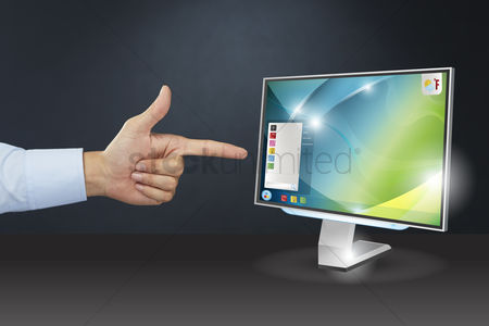 Devices : Hand presenting computer monitor concept