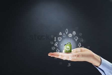 Earth  graphic vector : Hand presenting environmental concept