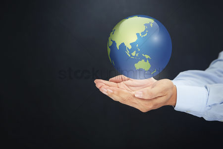 Earth  graphic vector : Hand presenting global concept