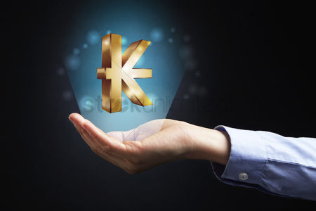 Sparkle : Hand presenting kips currency sign