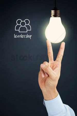 Advice : Hand presenting leadership concept