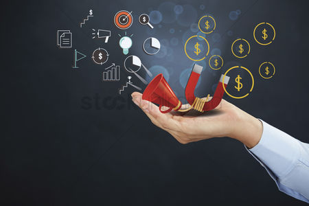 Conceptual : Hand presenting marketing concept