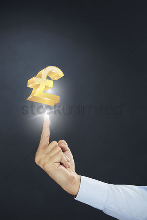 Sparkle : Hand presenting pound currency symbol concept