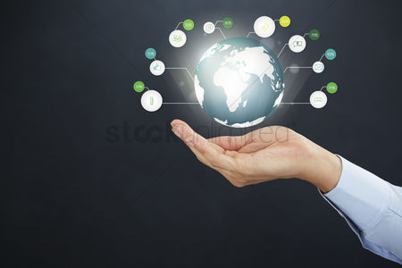 Earth  graphic vector : Hand presenting social media concept