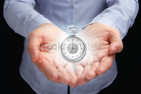 Productivity : Hand presenting time management concept
