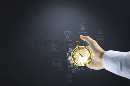 Motivation business : Hand presenting time management concept