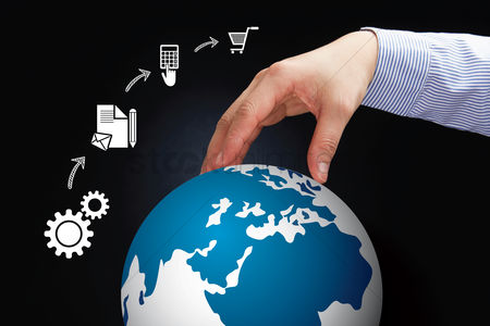 Earth  graphic vector : Hand reaching out towards global business concept