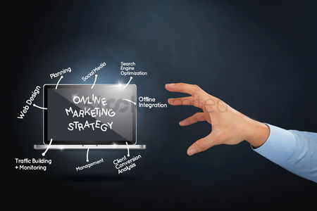 Client : Hand reaching towards online marketing strategy