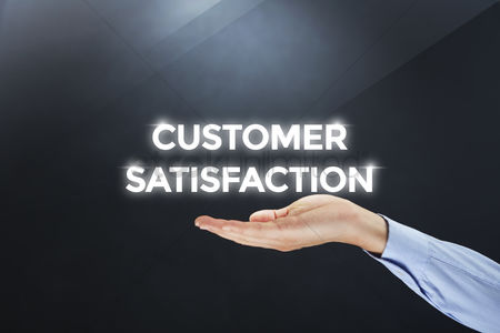 Relationship : Hand showing digital text customer satisfaction