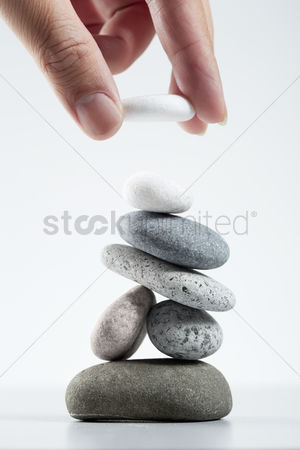 No people : Hand stacking of pebbles