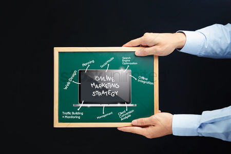 Show : Hands holding a chalkboard with online marketing strategy concept