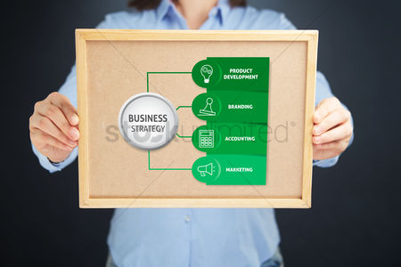 Cork board : Hands holding a cork board with business strategy concept