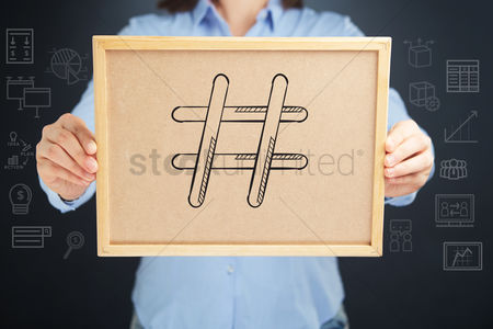 Handdrawn : Hands holding a cork board with hashtag sign