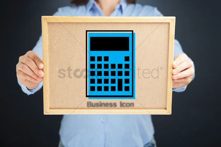 Count : Hands holding board with a calculator icon