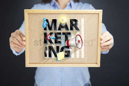 Instruction : Hands holding board with marketing concept