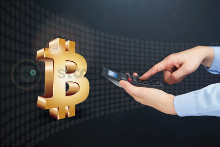 Count : Hands holding calculator with bitcoin currency symbol