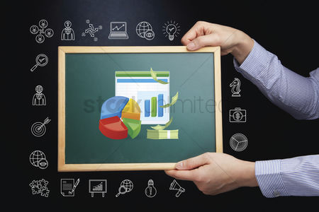 Productivity : Hands holding chalkboard with business growth concept