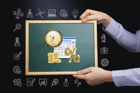 Productivity : Hands holding chalkboard with time management concept