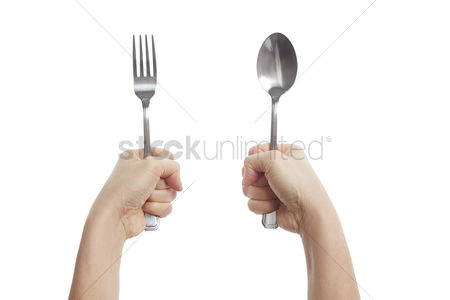 Grasp : Hands holding fork and spoon