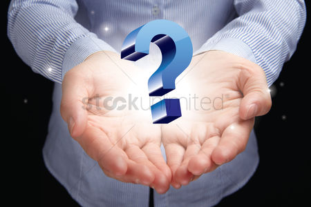 Media : Hands presenting a question mark