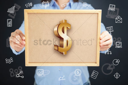 Productivity : Hands presenting dollar currency symbol on cork board concept