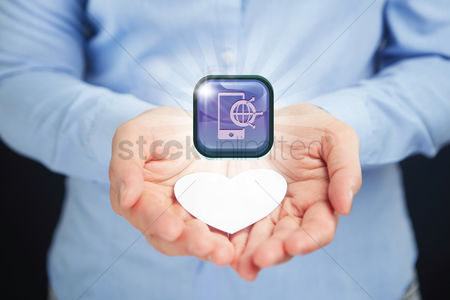 Heart shapes : Hands presenting global network icon