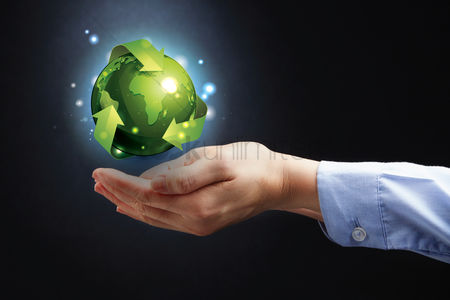 Earth  graphic vector : Hands presenting globe with recycling concept
