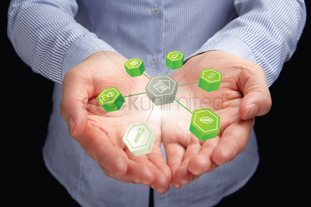 Sales person : Hands presenting organic seo concept