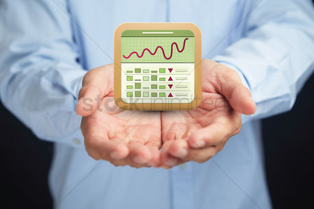 Applications : Hands presenting stock market icon