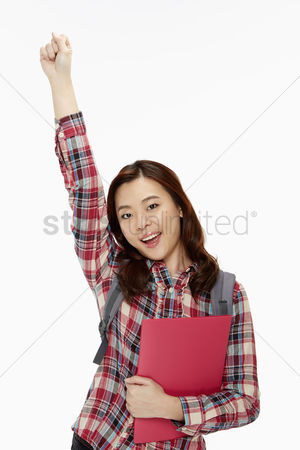 Excited : Happy woman cheering