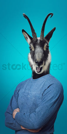Funny : Head of a goat on a man s body