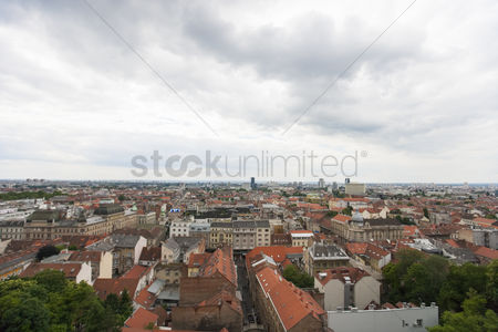 Croatia : High angle view of residential district in zagreb  croatia