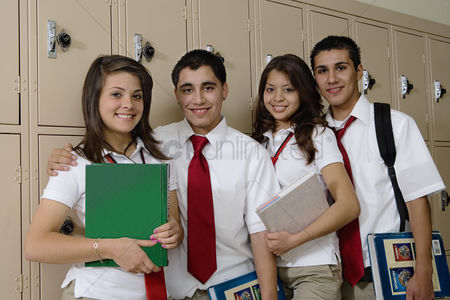 High school : High school students beside school lockers