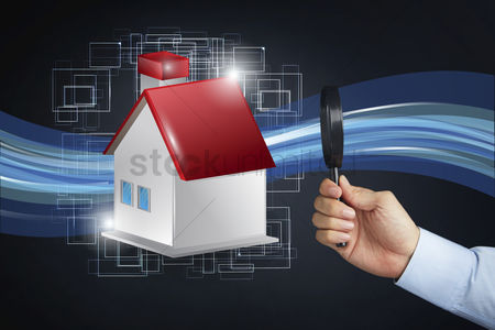 Land : House icon with hand holding magnifying glass