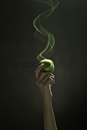 Malaysian chinese : Human hand holding a green apple