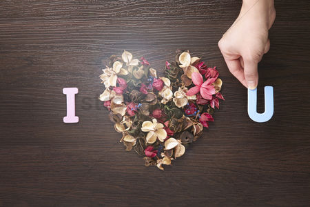 Heart shapes : I love you design with dried flowers
