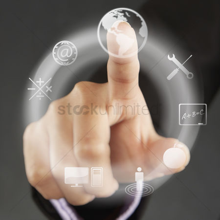 Selection : Index finger pointing at symbols on a touch screen menu