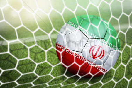 Pitch : Iran soccer ball in goal net