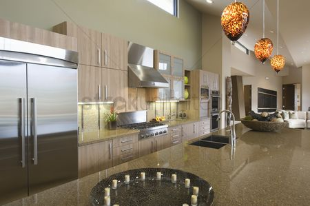 Interior : Kitchen worktop unit in palm springs home